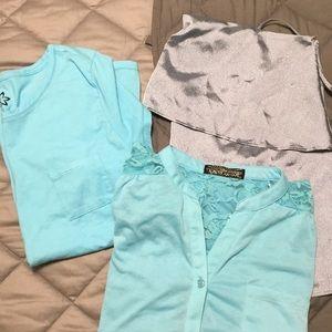 4 for $10 Top Blouse Bundle Lot M L Blue Turquoise